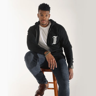 black philly inquirer classic i zip up hoodie sweatshirt model