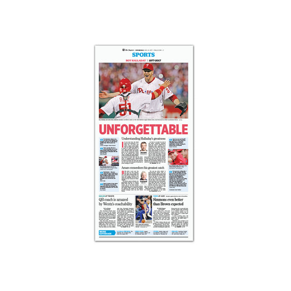 "Inquirer Sports Commemorative Page - ""Unforgettable"" Phillies, Unframed Print"