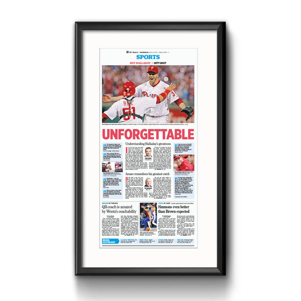 "Inquirer Sports Commemorative Page - ""Unforgettable"" Phillies, Framed Reprint with Mat"