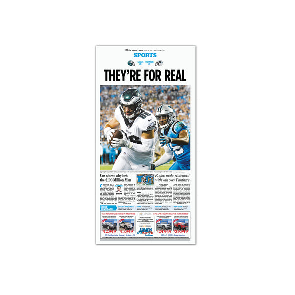 "Inquirer Sports Commemorative Page - ""They're For Real"", Unframed Reprint"