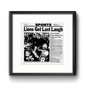"""Lions Get Last Laugh"" Penn State National Title Daily News Framed Print with Mat"