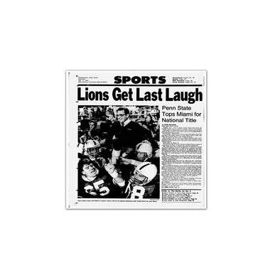 """Lions Get Last Laugh"" Penn State National Title Daily News Unframed Print"