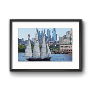 "Philadelphia Skyline Delaware River ""Parade of Sails 2018"" Framed Print with Mat"
