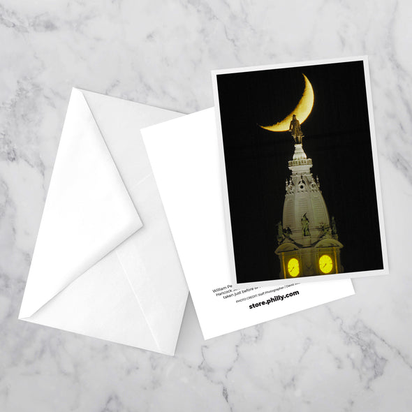 """Penn on the Moon"", Greeting Card with Envelope on Marble Background"