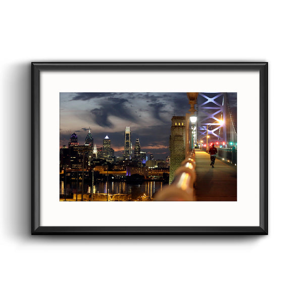 """Philadelphia Skyline at Dusk"" Framed Print with Mat"