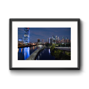 """Philadelphia Skyline at Night"" Photo Print - Framed"
