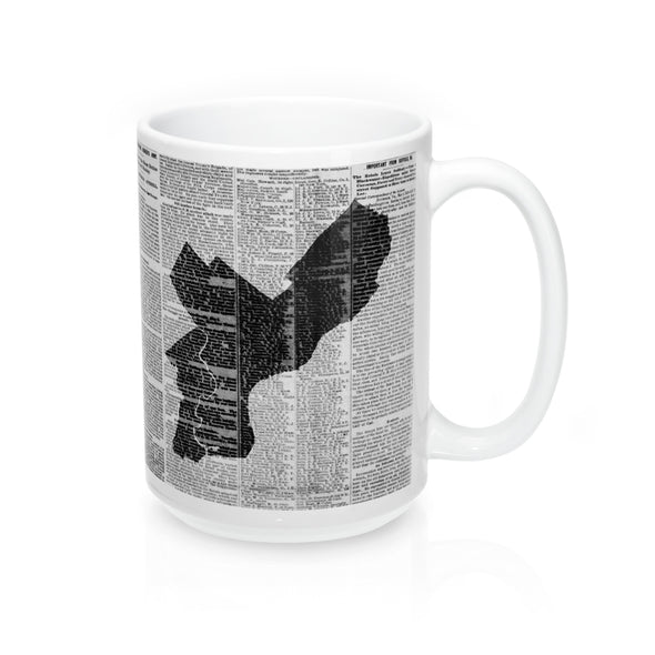 Philadelphia Map Mug - City Outline in front of archival pages with Handle at right