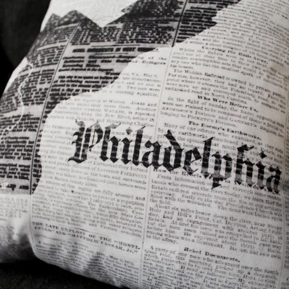 Philadelphia Map Decorative Throw Pillow Close-Up