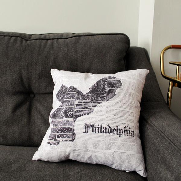 Philadelphia Map Pillow on Sofa