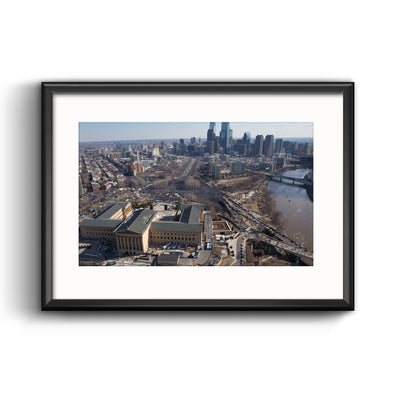 Philadelphia Eagles Super Bowl 2018 Champions Parade Aerial View Framed Print with Mat by Jessica Griffin