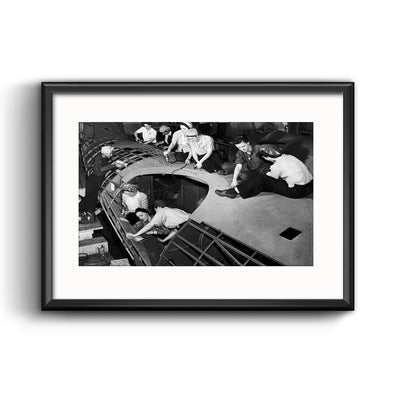 Riveting Women Defense Workers Framed Print with Mat