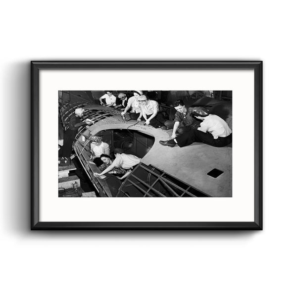 """Riveting Women Defense Workers"", Framed Print with Mat"