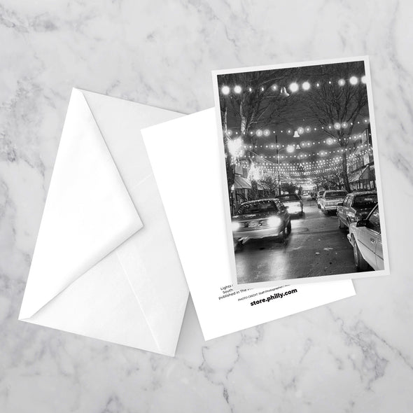 """South Philly Lights"" Greeting Card with envelope, by Michael S. Wirtz on Marble Background"