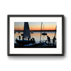 """Sunset Sail"", Framed Print with Mat"