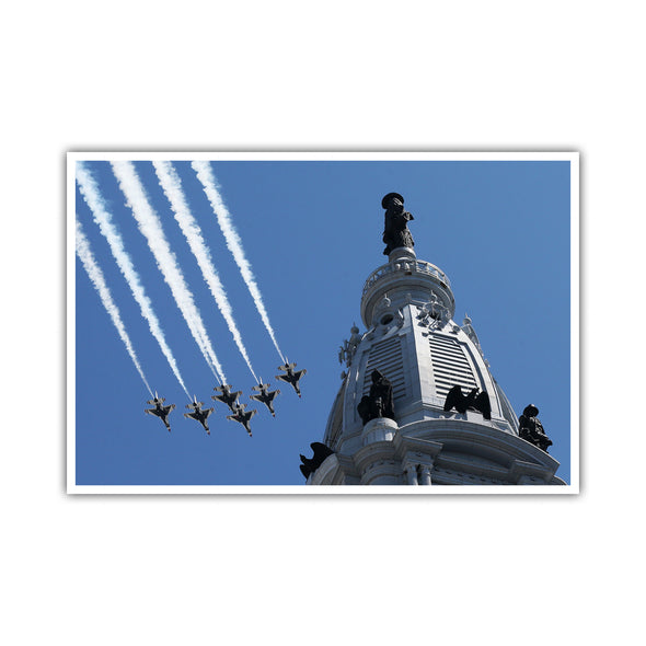 Blue Angels and Thunderbirds fly over Philadelphia