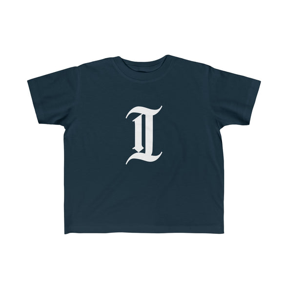 "inquirer classic ""i"" toddler t shirt navy front"