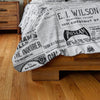 Close-up of Vintage Inquirer Ad Collage Duvet Cover on Bed in bedroom