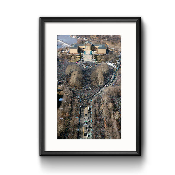 """Heart of the City"" Eagles Super Bowl Victory Parade 2018 Aerial Print Framed with Mat"