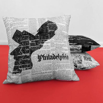 Philadelphia Map Pillow on Red Backdrop with Archival Inquirer Pillow and Newsworthy Skyline Pillow