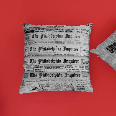 Philadelphia Inquirer Newspaper Pillow on Red Background