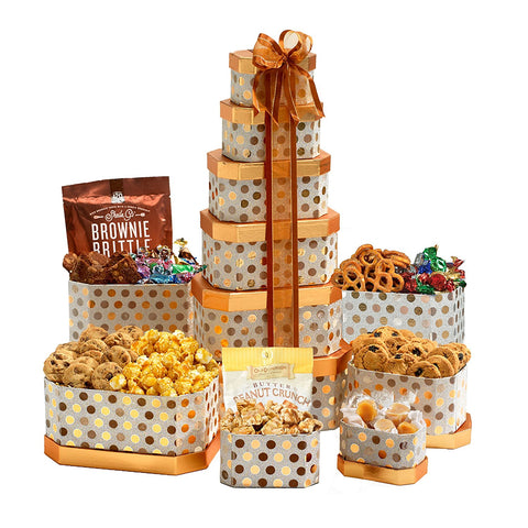 Large Gift Tower with Chocolate, Cookies and Nuts