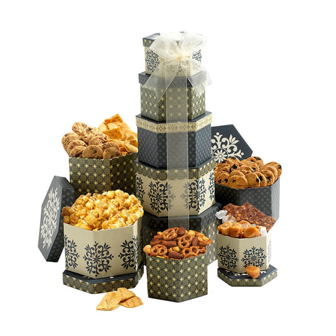 Medium Gift Tower with Chocolate, Cookies and Nuts