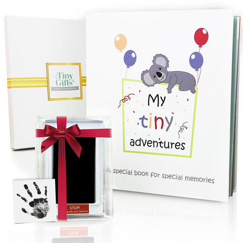 First Year Baby Memory Book Set: Babies Keepsake Journal, Scrapbook & Photo Album w/ Ink Pad