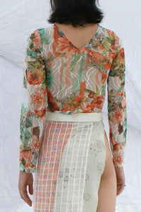 Long Sleeve Shirt in Floral Mesh
