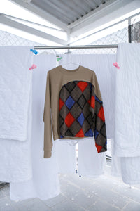 Long Sleeve Shirt with Panel in Argyle