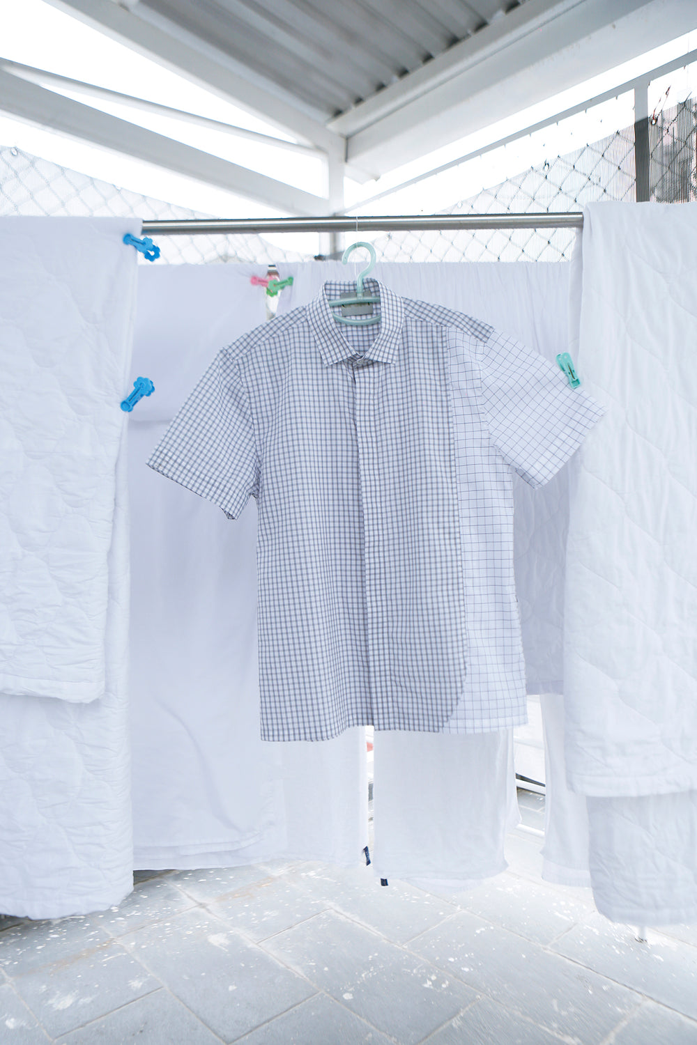 Short Sleeve Button Up in Thick Blue Grid