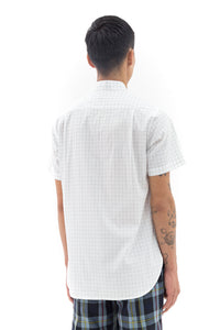 Short Sleeve Mandarin Collar in Green Grid