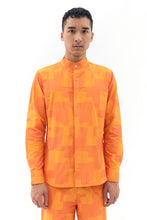 Long Sleeve Mandarin Collar in Orange Patch