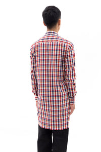 Extra Long Shirt in Multicolored Grid