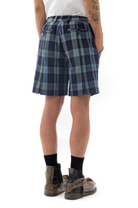 Back Pleat Shorts in Blue Tartan