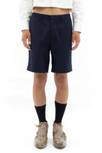 Back Pleat Shorts in Navy
