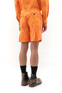 Back Pleat Shorts in Orange Patch