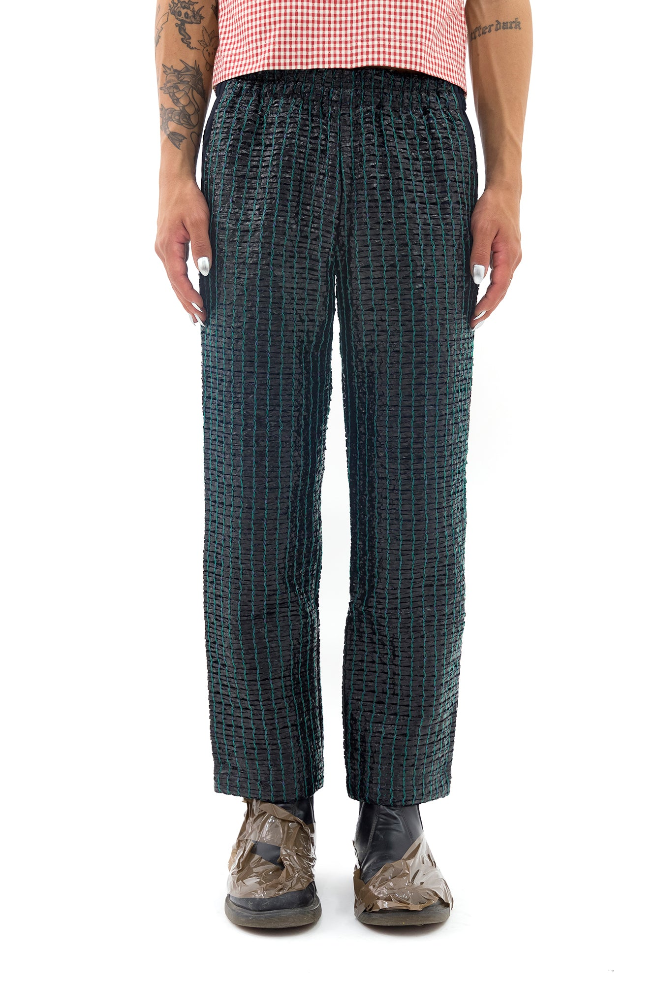 Sweatpants with Lining in Teal and Black
