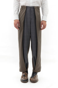 Extra Wide Sarong Pants in Grey Grid