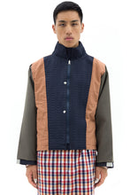 Jacket with Grid Overlay in Blue