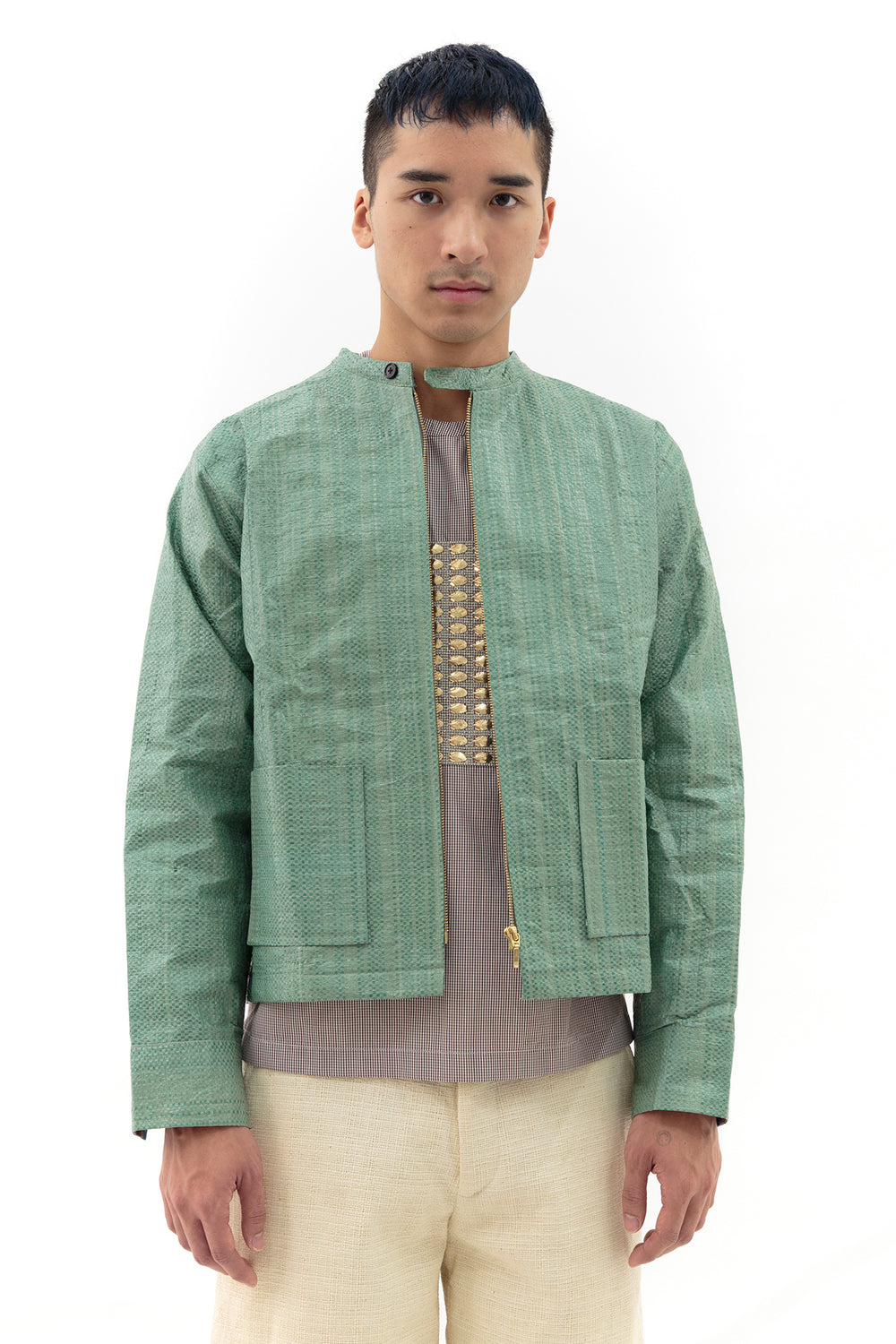 Jacket with Back Vent in Green Rice
