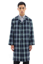 Long Coat with Underarm Panel in Blue Tartan