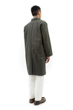 Long Coat with Underarm Panel in Green Canvas