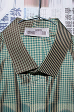 Half Collar Short Sleeve Shirt in Green Check