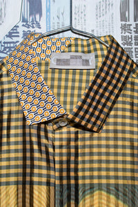 Half Collar Long Sleeve Shirt in Yellow Check