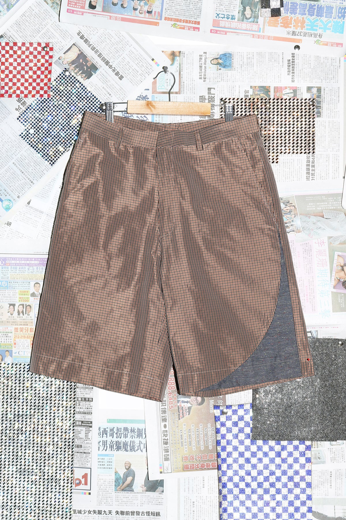 Short with Insert in Brown Check