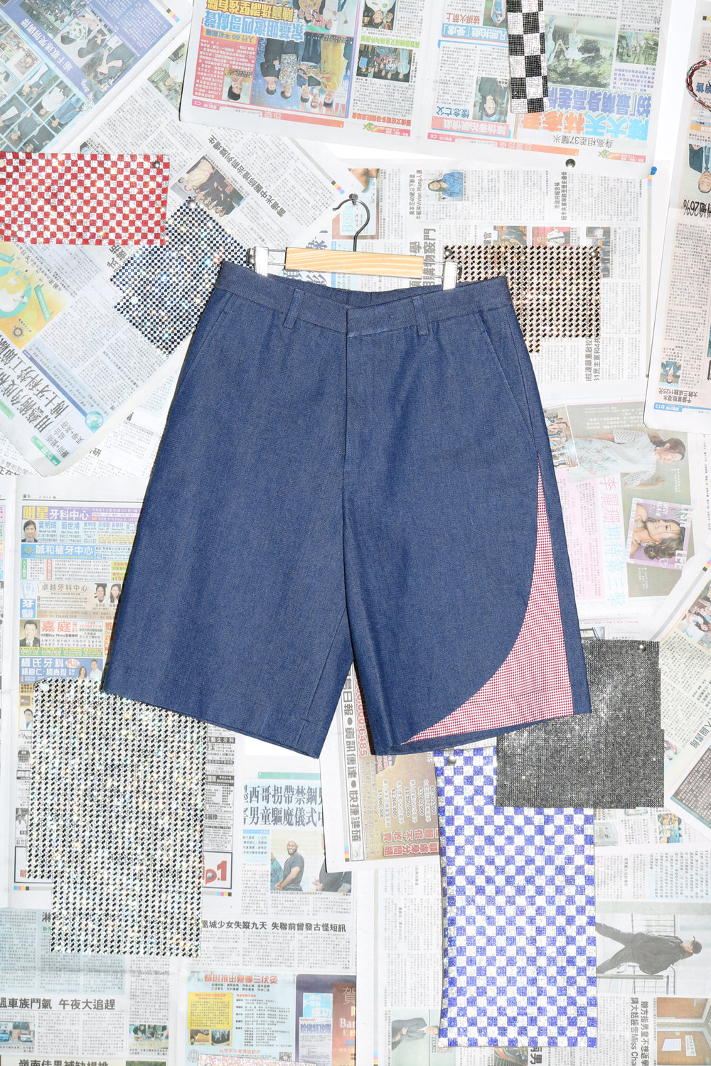 Short with Insert in Denim