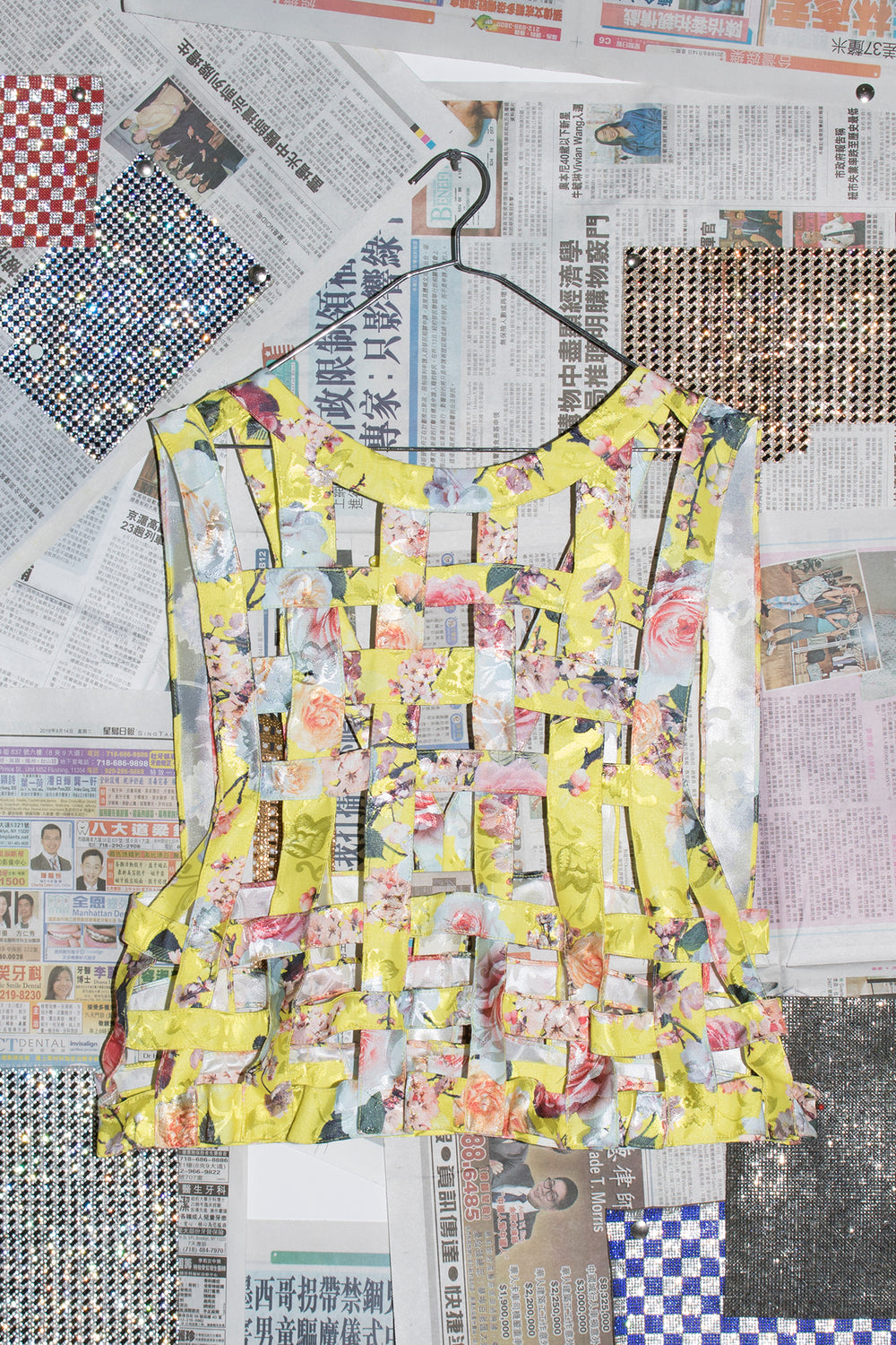 Women's Grid Vest in Yellow Flower