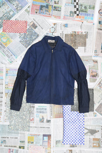 Gathered Sleeve Jacket in Oiled Blue