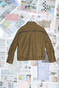 Gathered Sleeve Jacket in Yellow Wool