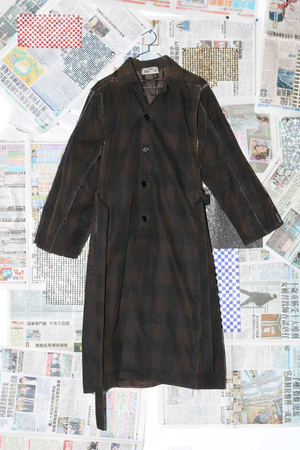 Box Coat in Oiled Tartan